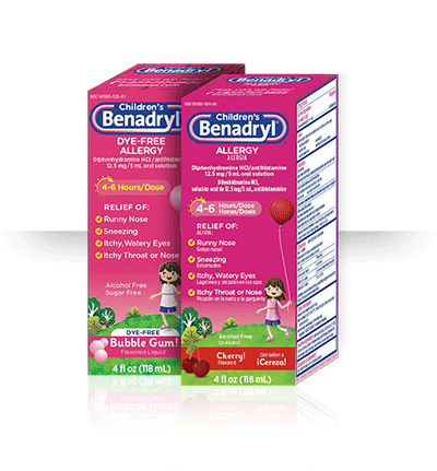 Children S Benadryl Allergy Liquid Diphenhydramine Hydrochloride 12 5 Mg In Ml
